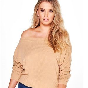 b3aaa8f3e9ed88 Boohoo Plus Tops - Plus size off the shoulder knitted jumper🤟🏼